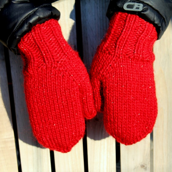 Knitting Patterns For Bulky Weight Yarn : KNITTING PATTERN - THE Absolute Mitten Bulky Weight Yarn Phototutorial from A...