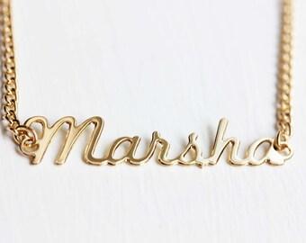 Marsha Name Necklace, Marsha Necklace, Vintage Name Necklace, Name Plate Necklace, Gold Name Necklace,  Cursive Monogram Jewelry