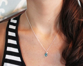 Tiny Blue Drop Necklace