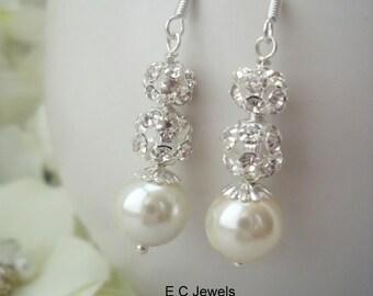 Pearl and Rhinestone Bridal Earrings