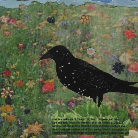 Crow Art Bird Art Collage Giclee Fine Art Print 8 x 10