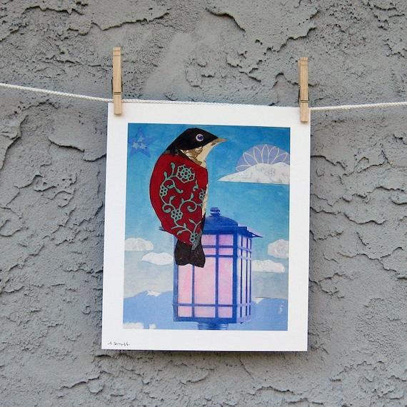 Whimsical Bird Art Print Red Bird Giclee 8 x 10