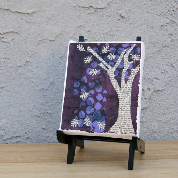 Autumn Tree Book Art Original Mixed Media Collage Purple