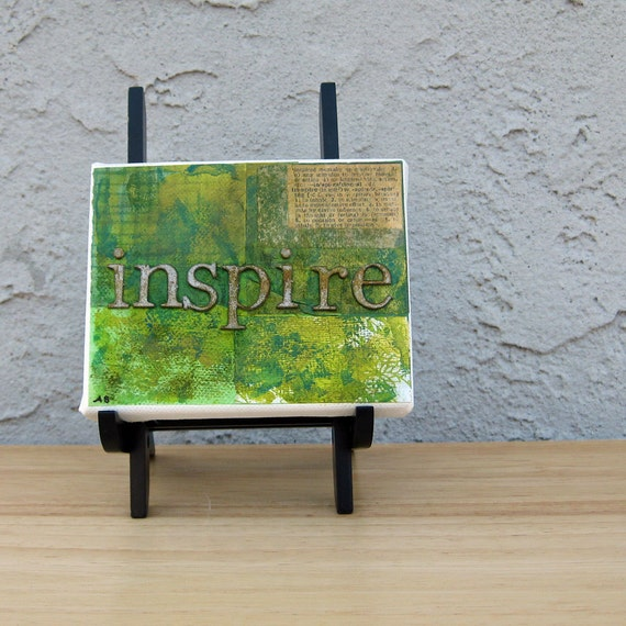 Inspire Collage Word Art Original Small Green Canvas