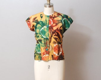 SALE - 1980 Tie Dye Top - Jewel Tone Batik Shirt
