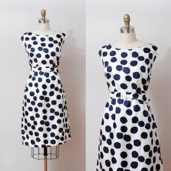 1960s Dress - Silk Navy Spotted Nautical Dress