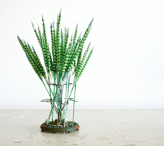 Vintage Mercury Glass Christmas Picks - One Dozen - Green