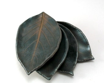 Leaf Plates-Leaves-Tableware-Brown-Metalic-Tableware-Set of 4-Rich Bronze Glaze-Ready to Ship
