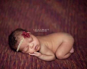 Ruby on Gold Tie Back Headband - newborn photo prop