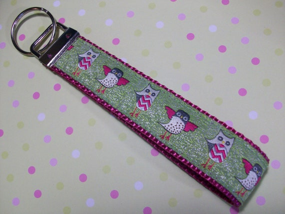 Key Fob, Wristlet Style, Owls in Green and Pink
