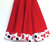 CHRISTMAS TREE SKIRT - 60 inches- Ready to Ship - Red with Red Baubles trim, ready to ship  by speedpost, delivery in 4-5 days