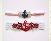 Hello Sailor garter set nautical garter in blue red white with pearls LIMITED EDITION