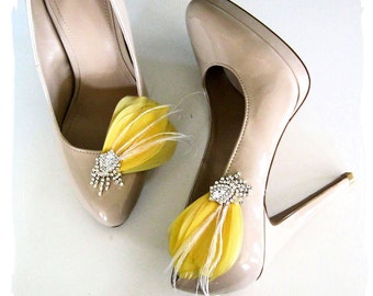 Feather and Rhinestone bridal shoe clips in yellow