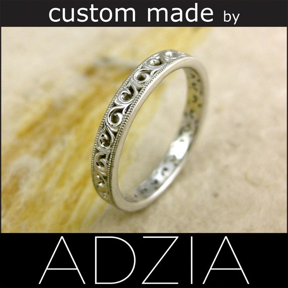 14K White Gold Flower Patterned Swirly Wedding Band with Milgrain on Edges - Reserved for PRISCILLA - First Installment