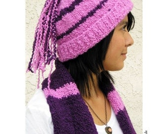 Hat Scarf Set, Funky Braids Hat Bright Bubblegum Pink and Plum, Alpaca Merino Wool