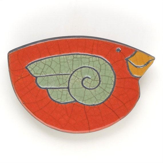 Ceramic Bird Wall Art,poppy red,Raku ,Whimsical Sculpture,home decor