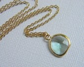 Gold Prasiolite Necklace - Bridesmaid Necklace, Bridesmaid Jewelry, Bridal Necklace