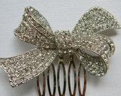 Rhinestone Bow Hair Comb - Crystal Clear Rhinestone Encrusted Bow - Bridesmaid - Bridal - Wedding