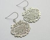 Silver Bridesmaid Earrings - Silver Chandelier Earrings - Ethnic Style Earrings - Boho - Wedding - Gift