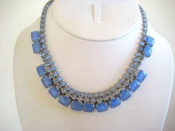 SALE Vintage Rhinestone Necklace Blue on Blue