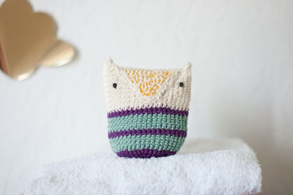 Crocheted Owl Baby Toy for Baby Boys and Baby Girls  -  Natural White Violet Lilac Purple Mint Stripes Cotton - OOAK - Summer Snow Owl
