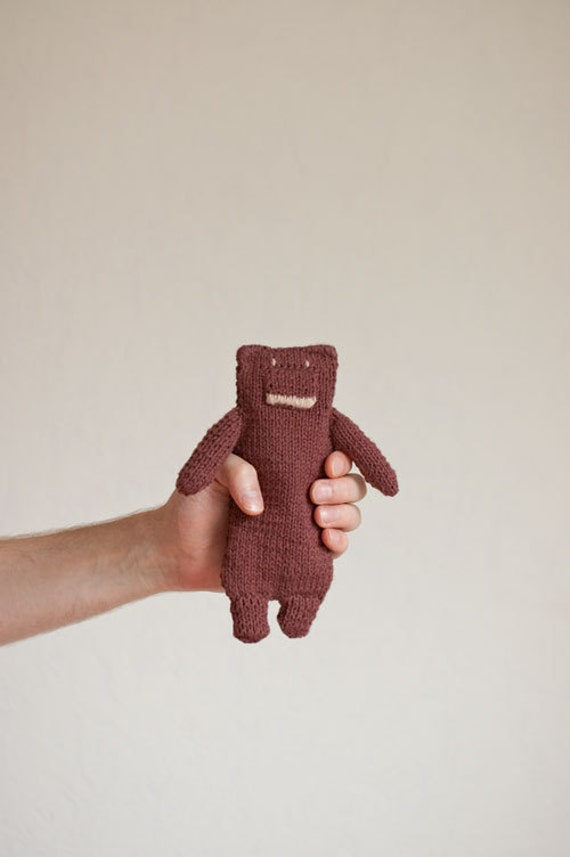 Knitted Teddy Bear Toy for Baby Boys and Baby Girls  - Brown Chocolate Coffee Cotton  - Newborn Baby Shower Toddler Kid  - OOAK - Flat Bear