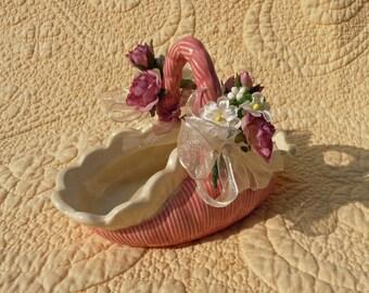 Pink Ceramic Candy Basket