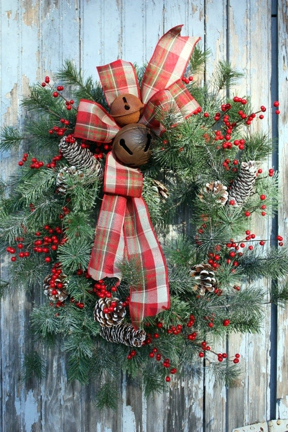 Christmas Wreath, Red Berries, Plaid Bow, Rusty Bells