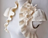 Felt Wedding Bolero, Shrug, Jacket, Ivory, Felted Couture, Blossoms Cherry Corsage, Cap Sleeves, US 6 /CHERRY Blossoms/ FREe SHIPPINg