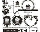 Iron On Transfer (M) - Afternoon Tea Party Invitation Cupcake Muffin Baking Rose Floral Heart Lace Doily