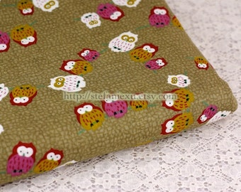 Traditional Hoot Owl Family - Japanese Traditional Cotton Fabric (Fat Quarter)