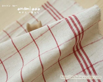 Home Decor Kitchen Tea Towels Table Plates Fabric, Retro Red Parallel Line Checks Gingham- Japanese Linen Cotton Blended Fabric (1/2 Yard)