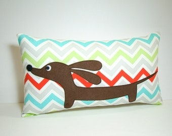 Dachshund Dog Pillow - Doxie Fresh Chevron Decorative Pillow - Modern Home Aqua Red Gray