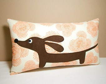 Dachshund Dog Pillow - Doxie in the Tangerine Flower Garden Decorative Pillow