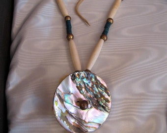 Vintage Native American Women's   Hairpipe Bone & Abalone Shell Necklace With Turquoise Glass Trade Beads