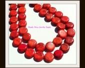 20mm Round Orange and Black Mosaic Stone Beads - 10 pieces