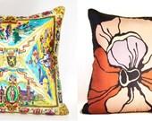 "BELGIUM & Vera Pillow Cover . Vintage Scarf Decorative Throw Cushion 24"" x 24"""