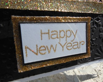 Handmade 'Happy New Year' Blank Card: Gold, Snow Flakes, ribbon
