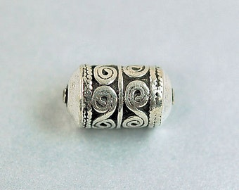 Sterling Silver Textured Barrel Bead - Sterling Silver Bead - 16 mm