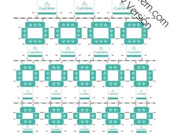 Printable PDF File - Dollhouse Miniature Cupcake Boxes - Turquoise