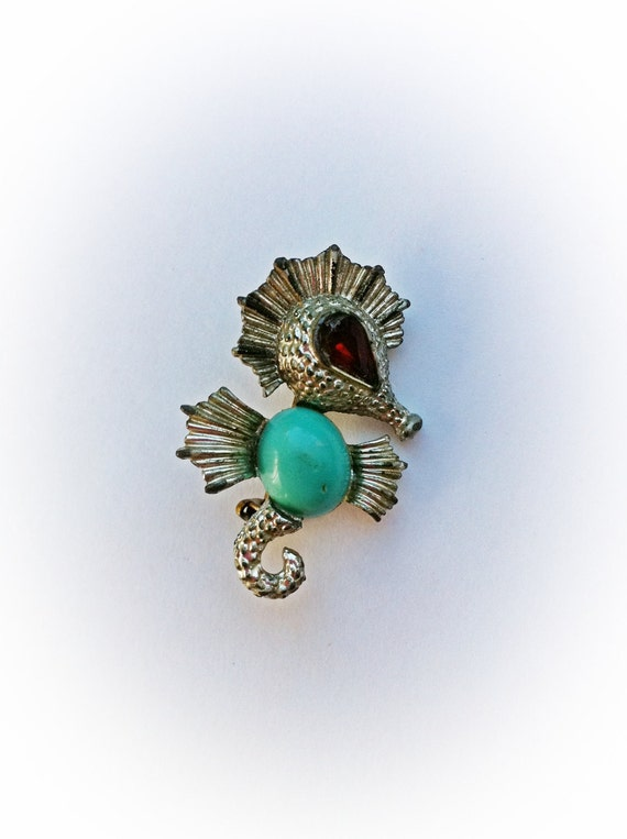 Vintage Seahorse Brooch with Aqua Jelly Belly and Red Rhinestone Eye