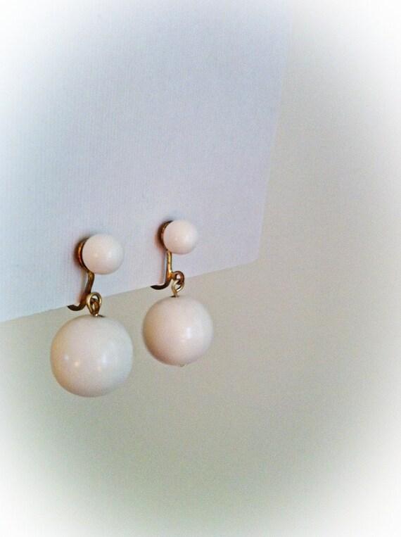 Vintage White Plastic Dangle Earrings