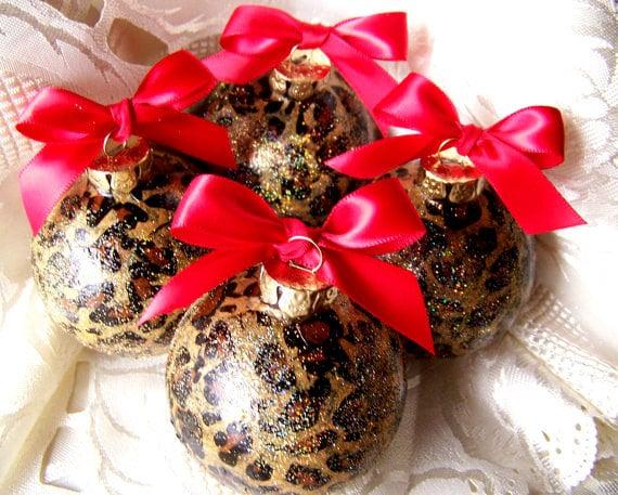 6 Leopard Print Christmas Ornaments Cheetah Safari Round