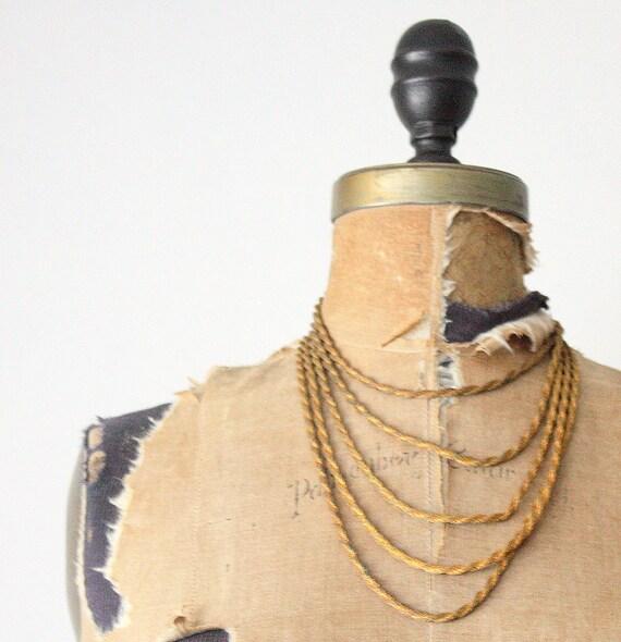 crescent fringe necklace - vintage 1970's bohemian fringe necklace