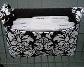 Super Large Size Coupon Organizer / Budget Organizer Holder Box - Black and White Dandy Damask