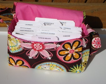 Medium Size Coupon Organizer Holder - Attaches to your shopping cart -Carnival Bloom