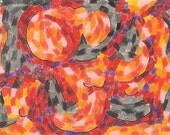 Witches and Pumpkins, original drawing, ACEO, colored pencil, halloween, witches, witch, pumpkins, pumpkin, orange, black