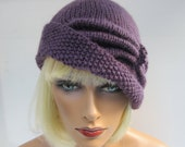 Cloche Hat with side gathers- knitted - 100% Merino Wool - STUNNING