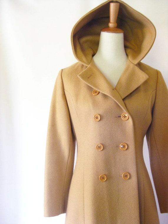 Vintage 1950s PRINCESS Wool Coat Full Length Small Medium CAMEL S M Mad Men CLASSIC Winter Woolen