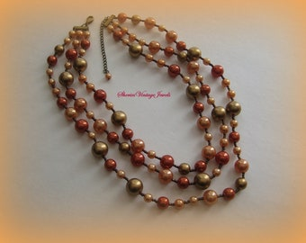 Vintage Bead Necklace Triple Strand Lovely Bronze  Copper Shades
